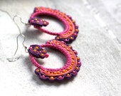 Ethnic Soutache Earrings, Boho Earrings, Boho Jewelry, Hippie Earrings, Folk Earrings, Soutache Earrings, Pink Soutache Earrings - HeriniasJewelryChest