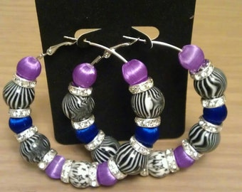 Love and Hip Hop and Basketball wives inspired hoop with zebra print, purple and blue beads