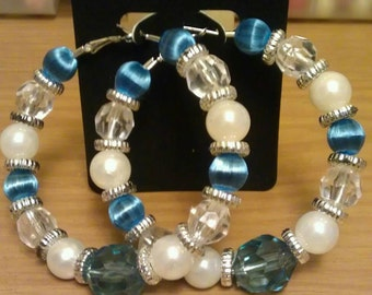 Love and Hip Hop Basketball wives inspired hoop with blue and white beads