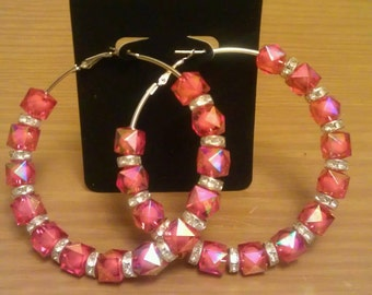 Love and Hip Hop and Basketball wives inspired hoop with hot pink/red beads