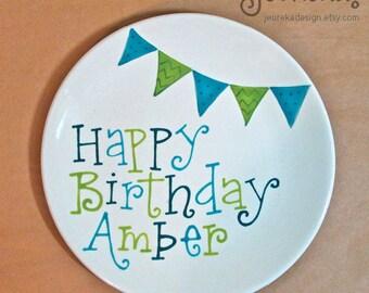 "Medium 8"" Party Pennants Birthday Plate"