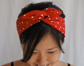 Gift Wrapped Red Polka Dots Dolly Bow Headband/Inner Wired Headwrap/Turband/Red and White