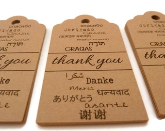 Thank You Tags - Foreign Language Tags - 30 Count - Hang Tag - 2.75 x 1.5 in. - Kraft Tags - Gracias - Danke - Merci - Obrigado - Grazie TY8