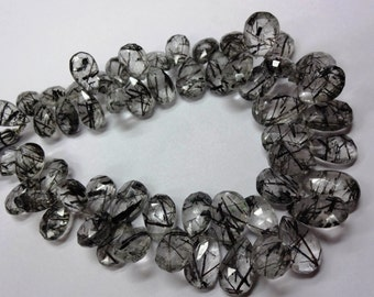 Half Strand Amazing Black Tourmalated quartz faceted pear shape briolette quality just amazing sold per4-inch strand size13-17mm 100%natural