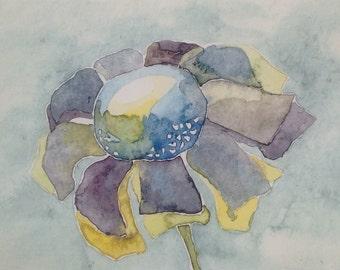 Blue Watercolor Flower, print of original painting