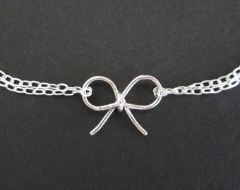 Set of 4: Sterling Silver Bow Bracelets. Sterling Silver Handmade Bow Jewelry. Tie the Knot Bracelet. 4 Bridesmaid Bracelets. 4 Best Friends