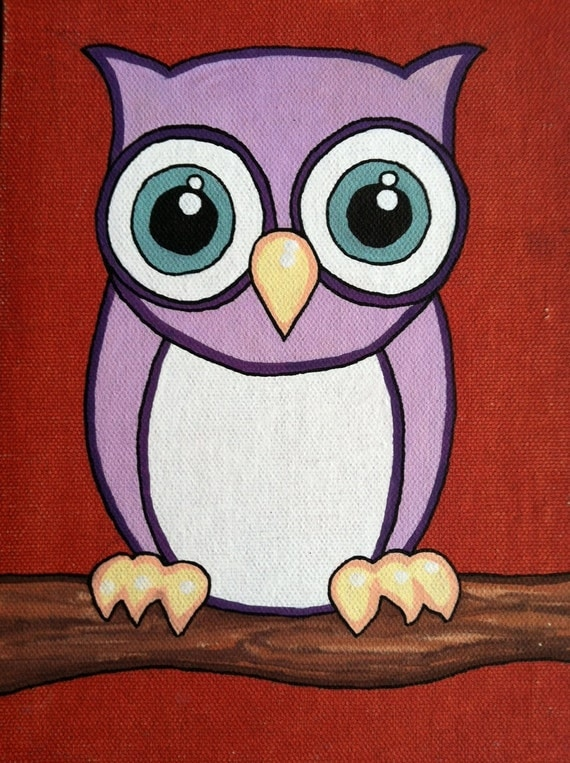 Items similar to Cute Purple Owl Painting on canvas panel ...