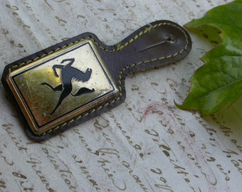Vintage french military coat of arms gold black horse twin  brooch signed Paris Drago leather