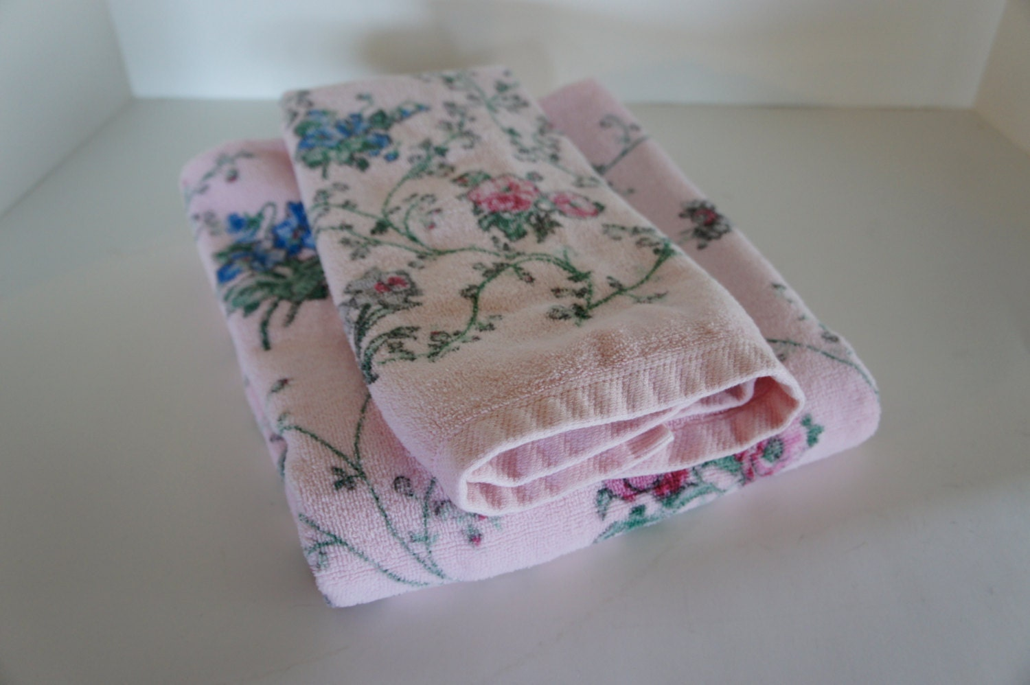 vintage jcp pink floral towels bath and hand towel cottage