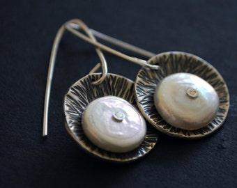 Coin Pearl and Sterling Silver Riveted Earrings