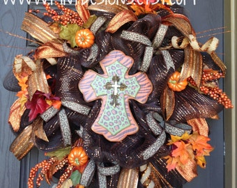 Fall/Thanksgiving Indoor/Outdoor Animal Print Cross Deco Mesh Wreath