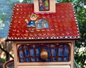 Items Similar To Cute Wooden House Cabinet Jewelry Box