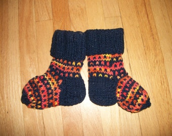 Wool Navy Baby Slippers