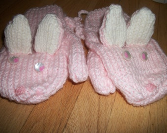 Child Hand Knitted Bunny Mittens