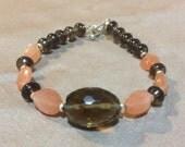 Gemstone Jewelry Bracelet Smokey Quartz and Peach Moonstone Bracelet