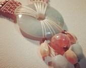 Amazonite, Cameo and Copper Macrame Necklace Gemstone Pendant Jewelry
