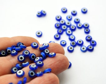Blue Evil Eye 6mm Flat Glass Beads From Turkey -  Set Of 50, Ojo Beads 50 Pcs, Dark Blue Flat Evil Eye Beads Nazar Evil Eye Hamsa Evil Eye