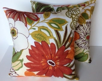 Floral autumn pillow cover, cushion, decorative throw pillow, decorative pillow, accent pillow, 18x18 pillow, pillow case