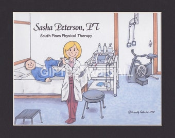 PHYSICAL THERAPY ASSISTANT Personalized Gift - Custom Cartoon Matted Print 8x10 or 9x12, Keychain or Magnet