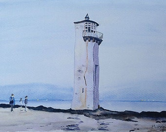 Scottish Landscape Painting Print Lighthouse Dunfries And Galloway Scotland