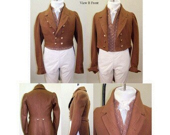 LM121- 1810 - 1830 Men's Regency Tailcoat with Five Collar and Lapel Options Sewing Pattern by Laughing Moon