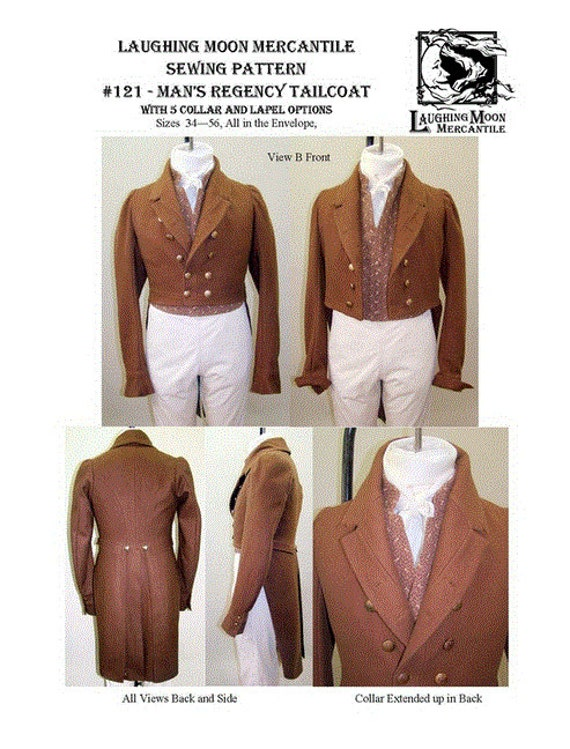 Steampunk Sewing Patterns- Dresses, Coats, Plus Sizes, Men's Patterns 1810 - 1830 Mens Coat Reg LM121- $17.95 AT vintagedancer.com