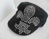 Sale, Black Hat, Military Hat, Cadet Hat, Fleur de lis, Rhinestones,  Bling, Womens Hat, Girls Hats, Teen, Black Hat
