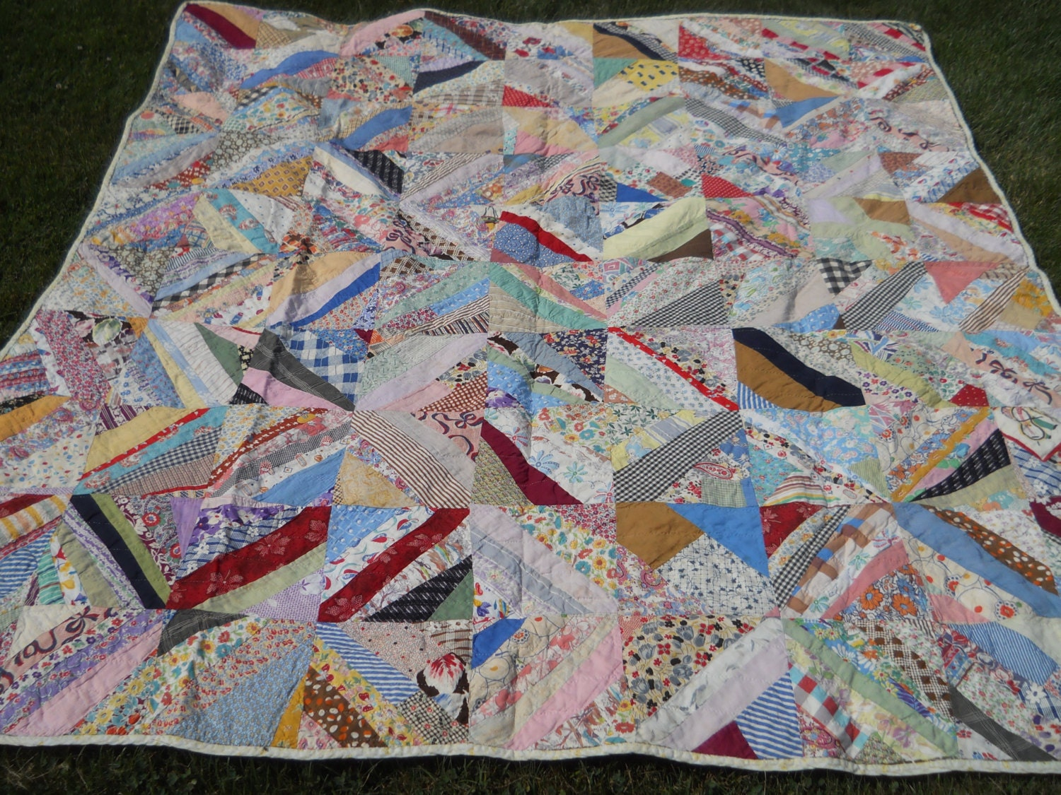 Vintage Country Primitive Block Quilt Feedsacks