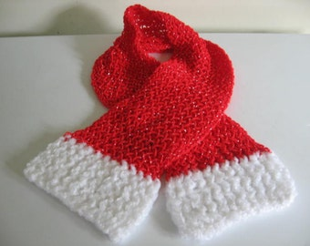 Red and White Fluffy Ends Scarf