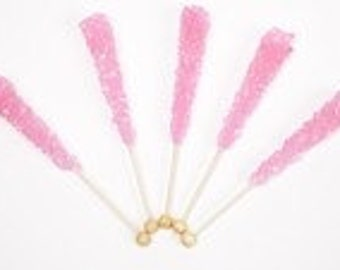 Rock Candy Sticks Cotton Candy Flavor 12 Count - Pink