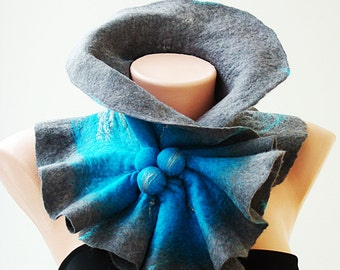 Felted Scarf Neckpiece Collar. Base (Small) Size. Gray & bright blue shibori scarf  Trending Winter Accessories.