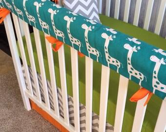 Crib Bedding baby bedding crib set -Turquoise Giraffe Gray Chevron Lime and Orange