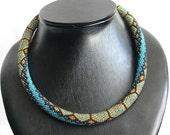 "Beaded crochet necklace and bracelete ""Turtle""- Bead Crochet Rope"
