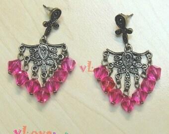 Vintage red glass beads earring (V-155)