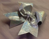 Silver Dot, Holographic, Sparkle, Mystique Spandex, Cheer, Dance, Gymnastic, Hair Bow, Pony Tail, Barrette