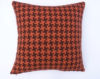 "Mid Century Modern design accent Pillow Woven Houndstooth -  17"" x 17"" with feather/down insert"