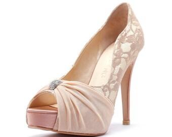 My Last Love, Nude Satin Wedding Heels with Rhinestones, Nude Satin Rhinestone Bridal Heels, Wedding Heels with Beaded Rhinestone Adornment