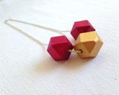 Wood Geometric Statement Necklace Fashion Jewelry Red wine and gold pendant