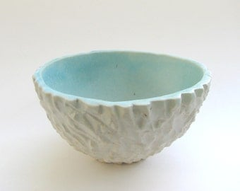 hand carved bowl / water pool effect / glass fused / ceramic decorative bowl  by Echo of Nature Yumiko Goto