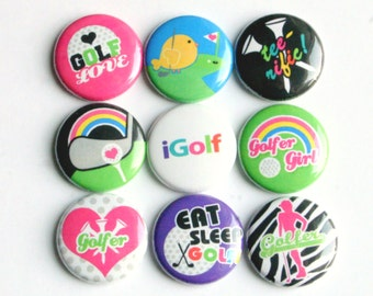 golf golfer sport magnet pin badge button cab charm set of nine