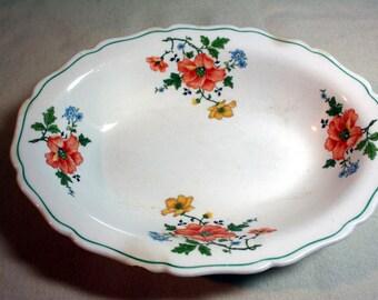 Canonsburg Pottery-Keystone-veggie bowl-vegetable bowl-servingware-orange floral-shabby chic bowl