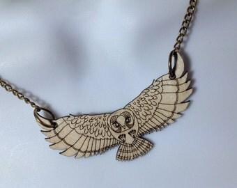 fabulous laser cut birchwood flying owl necklace