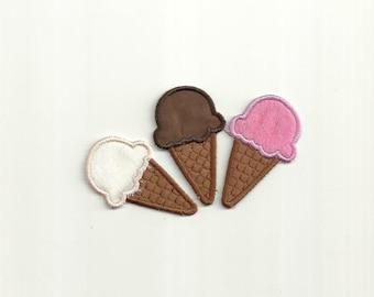Set of 3 Ice Cream Cone Patches! Custom Made! AP17