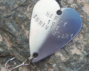 First Anniversary 1st Wedding Anniversary Fishing Gift Handstamped Fishing Lure Custom Personalized Gift for Men Fisherman Guys Husband Wife