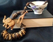 SALE Vintage African Tribal Wood Necklace