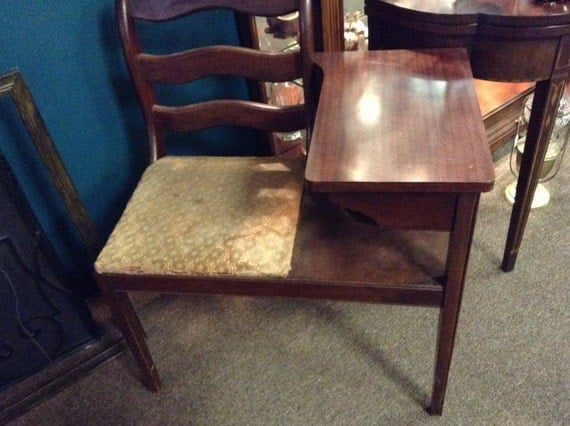 1940s Telephone Table Unique Attached Chair By