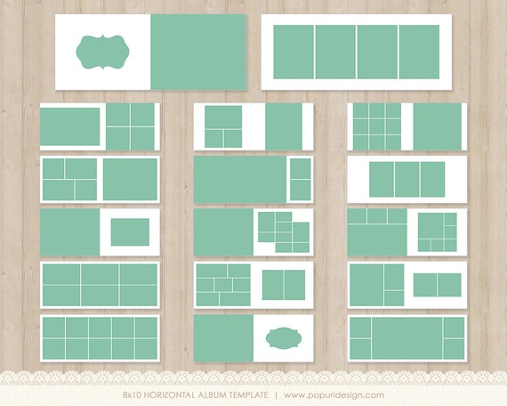 instant download 8x10 album templates for by popuridesign on etsy. Black Bedroom Furniture Sets. Home Design Ideas