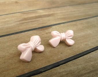 Pale Pink Bowtie Stud Earrings