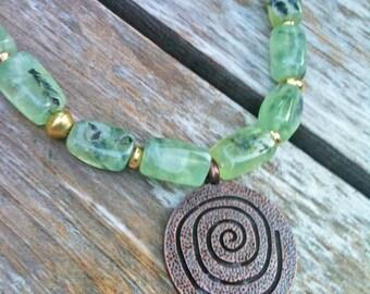 Prehnite and Copper Focal necklace