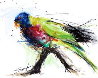WATERCOLOR PARROT ART - bird painting, rainbow lorikeet bird, abstract bird art, original watercolor bird, painting of parrot
